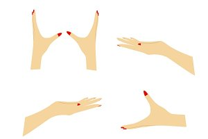 Hands holding vector set