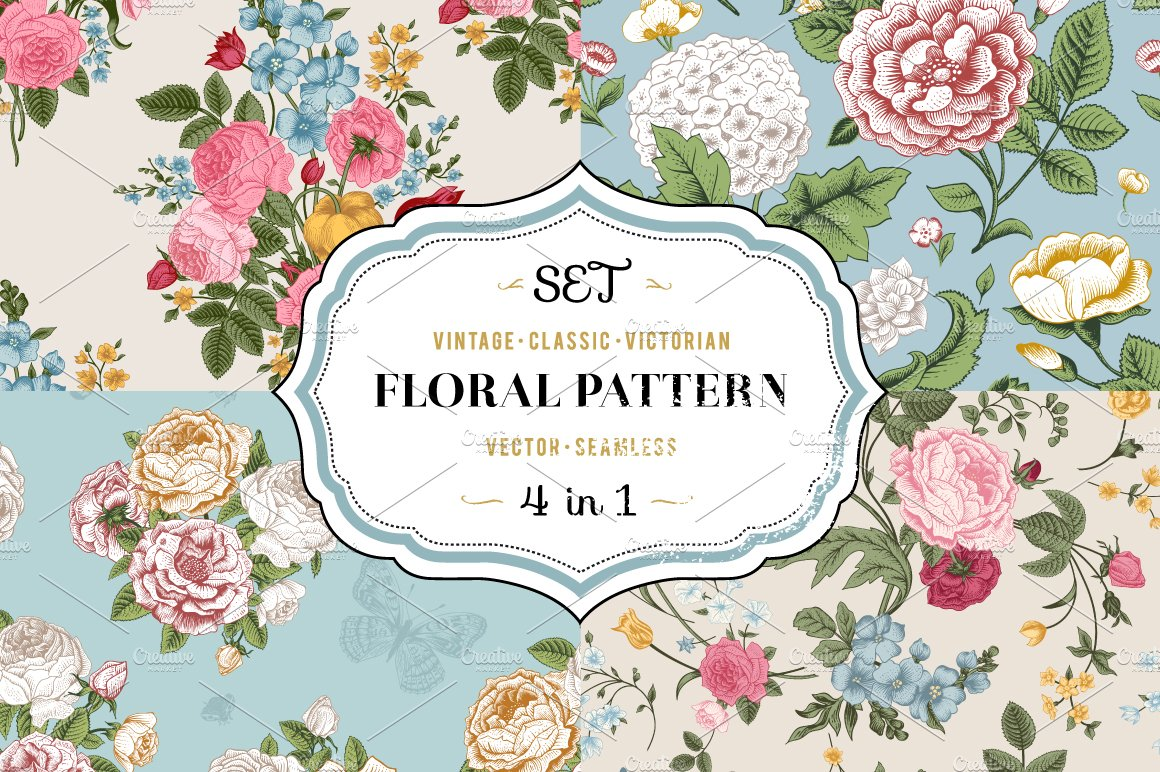 Vector vintage floral pattern. Set. ~ Graphic Patterns ...