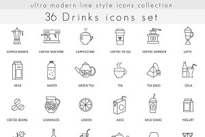 36 Drinks line icons set.