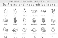 36 Fruits & vegetables line icons.
