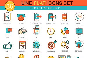 36 Contact us flat line icon set.