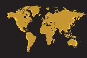 World map gold vector