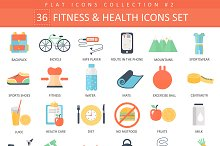 36 Fitness & health flat icons set.