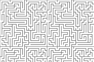Black complicated maze on white