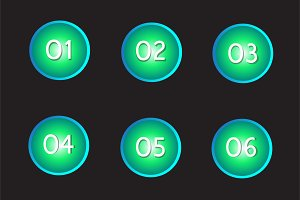 Buttons numbers neon color vector