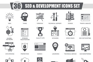 36 SEO & development black icons set