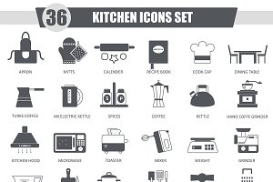 36 Kitchen black icons set.