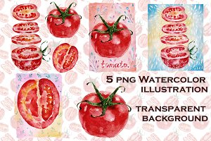 Watercolor illustration with tomato