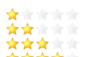 Set of five golden stars rating