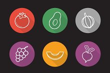 Fruit and vegetables icons. Vector