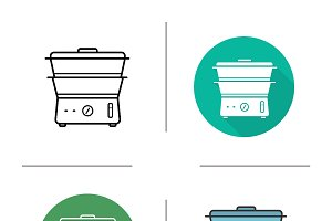 Steam cooker icons. Vector
