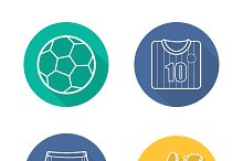 Soccer equipment icons. Vector