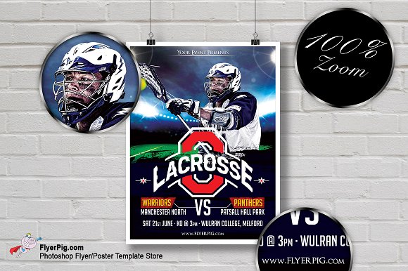 lacrosse sports flyer template flyer templates creative market