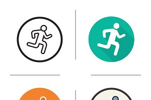 Running man icons. Vector