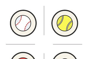 Sport games balls icons. Vector