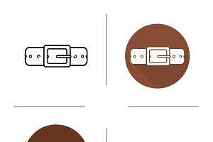 Leather belt icon. Vector