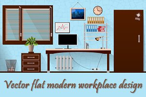Flat vector interior office room