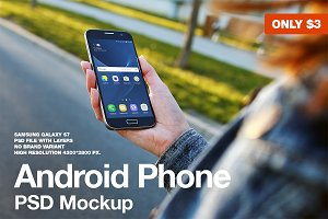 Android Phone Realistic PSD Mockup