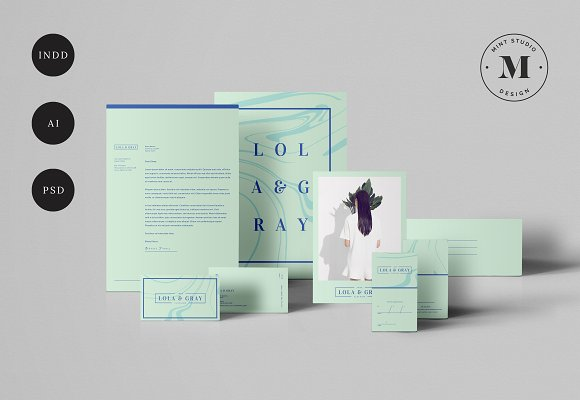 lola gray stationery template stationery templates creative market
