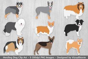 Herding Dog Clip Art Illustrations