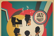 abstract jazz band poster