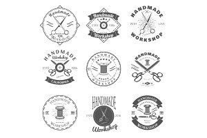 Handmade workshop logo vintage set