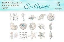 Sea World Boho Style Elements
