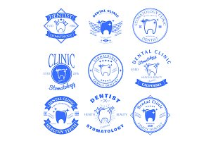 Set of dental clinic logo templates