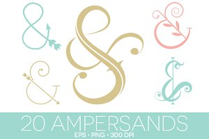 20 Ampersands EPS and PNG