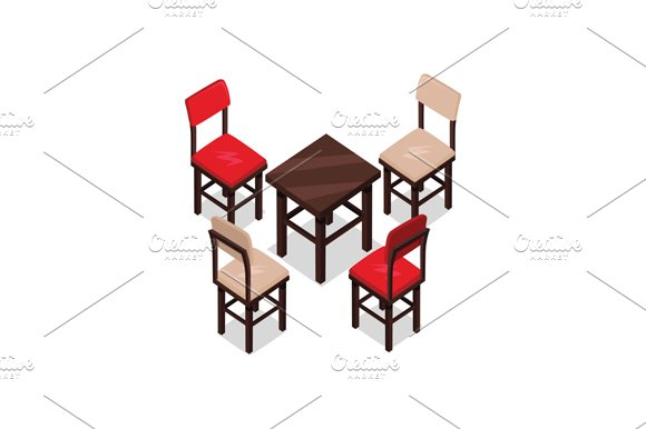 Chair and Table Isometric Design