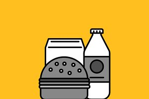 Breakfast Burger and Milk Icon