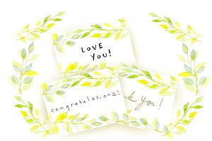 watercolor leave card