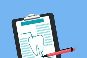 Dental Tablet Treatment Design Flat