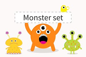 Cute cartoon monster set