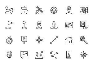 Navigation Line Icon Set.