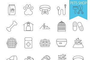 Pets shop icons.