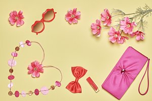 Woman essentials fashion accessories set, romantic