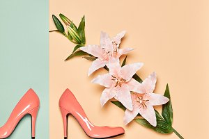 Summer Fashion woman luxury heels, lily flowers