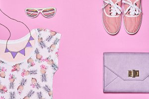 Summer Fashion hipster girl clothes, accessories