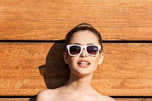 Beautiful girl in sunglasses.