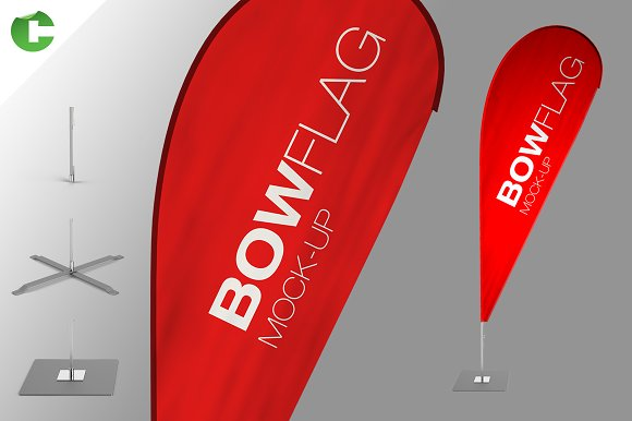 Download Bow Flag Mock Up Free Mockup Psd Template