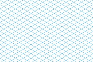 Cyan colour isometric grid on white