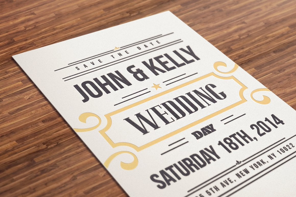 Vintage Wedding Invitation Postcard ~ Invitation Templates ...