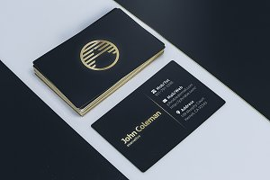 3 Golden Business Card Mockups