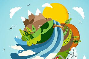 Go Green energy Earth illustration