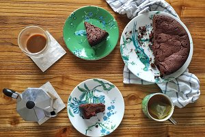 Chocolate cake at tea time