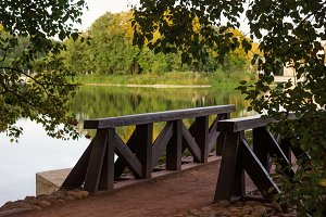 Wooden bridge surrounded by green trees in a park near lake at summer time