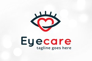 Eye Care Love Logo Template