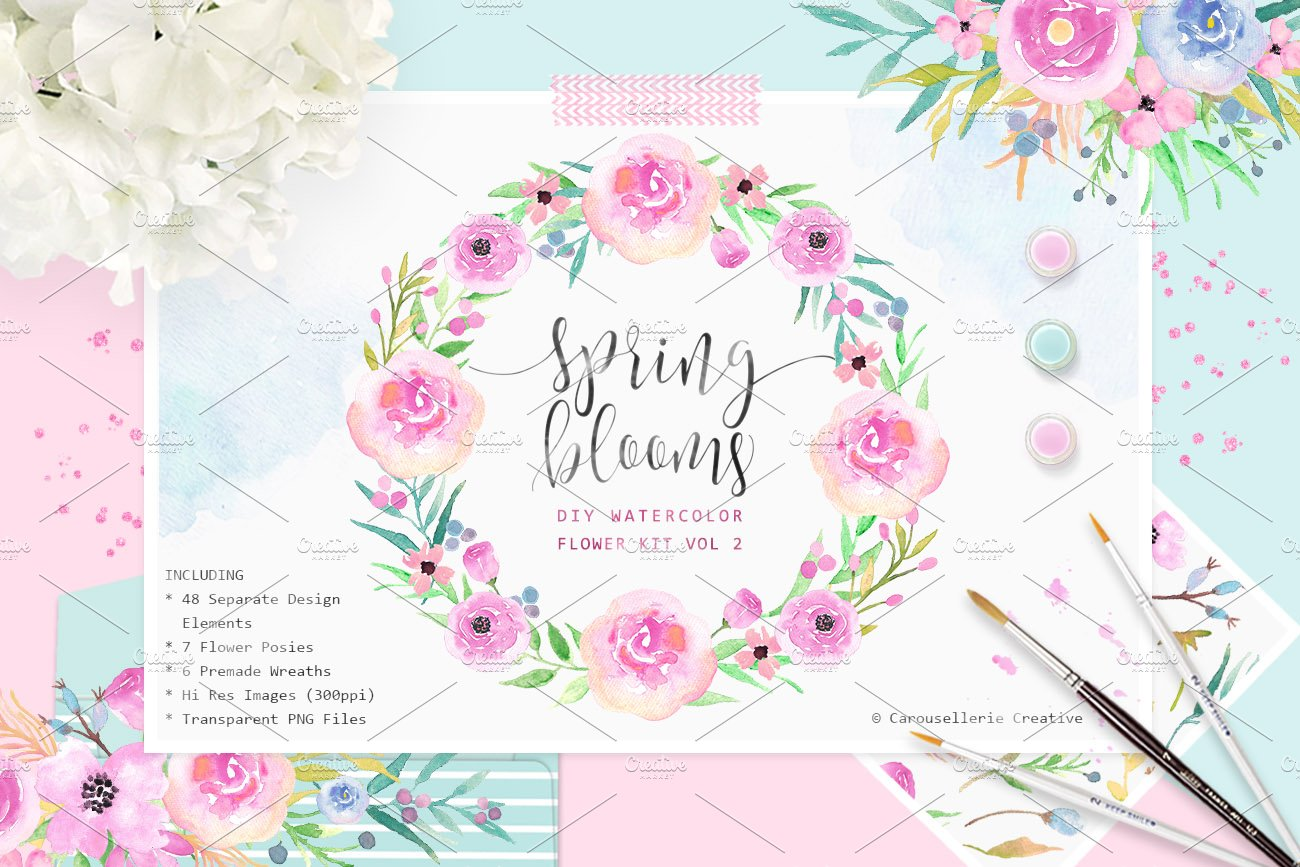 Spring Blooms Watercolor Flowers Illustrations Creative Market