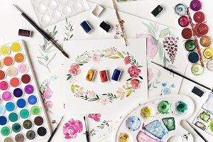 Watercolor paintings and tools